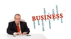 Geschäftsmann, der am Schreibtisch sitzt und auf Tastatur mit Wort Clo schreibt Lizenzfreie Stockfotos