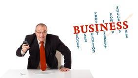 Geschäftsmann, der am Schreibtisch sitzt und ein Mobiltelefon hält Lizenzfreie Stockbilder