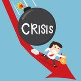 Geschäftsmann, der sein Gelddurchgehen von der Krisenbombe hält vektor abbildung