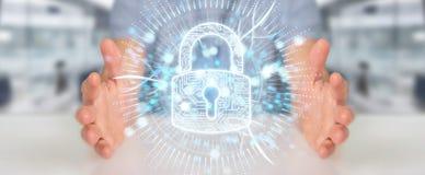 Geschäftsmann, der seine Daten mit digitalem Sicherheitshologramm schützt vektor abbildung