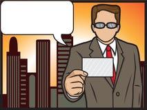 Geschäftsmann, der seine Karte zeigt Stockfoto