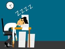 Geschäftsmann, der an seinem Schreibtisch schläft lizenzfreie abbildung