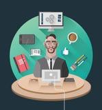 Geschäftsmann, der an seinem Schreibtischvektor arbeitet Stockfotos