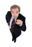Geschäftsmann, der seinen Finger zeigt Stockfotografie