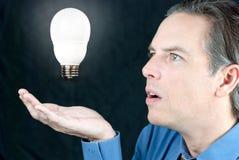 Geschäftsmann, der sich hin- und herbewegende Glühlampe betrachtet Lizenzfreies Stockbild