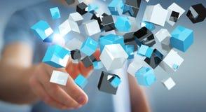 Geschäftsmann, der sich hin- und herbewegendes blaues glänzendes Würfelnetz 3D renderi berührt Lizenzfreie Stockbilder