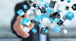 Geschäftsmann, der sich hin- und herbewegendes blaues glänzendes Würfelnetz 3D renderi berührt Stockfotos