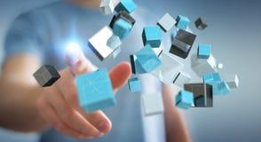 Geschäftsmann, der sich hin- und herbewegendes blaues glänzendes Würfelnetz 3D renderi berührt Stockbilder