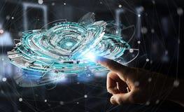 Geschäftsmann, der sich hin- und herbewegendes 3D überträgt digitale Technologie blauen int berührt Lizenzfreie Stockbilder