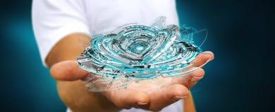 Geschäftsmann, der sich hin- und herbewegendes 3D überträgt digitales Technologieblau inte hält Stockfoto