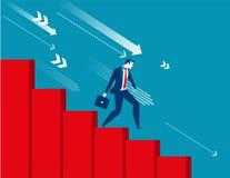 Geschäftsmann, der sich nach unten mit wirtschaftlicher Rezession bewegt Stockfotos