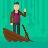 Geschäftsmann, der in sinkendem Boot steht Stockfoto
