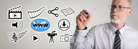 Geschäftsmann, der Sozialaustausch von informationen-Konzept zeichnet Stockbilder