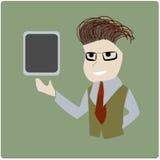 Geschäftsmann, der Tablette darstellt Lizenzfreie Stockfotos
