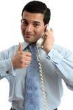 Geschäftsmann, der Telefonerfolg verwendet lizenzfreies stockbild