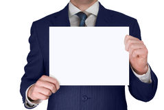Geschäftsmann, der unbelegte Karte anhält Stockbilder