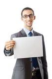 Geschäftsmann, der unbelegte Meldung blockiert lizenzfreies stockfoto