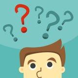 Geschäftsmann in der Unentschlossenheit auf einem Fragezeichen Lizenzfreies Stockbild