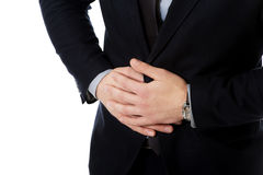 Geschäftsmann, der unter Magenschmerzen leidet Lizenzfreie Stockfotografie