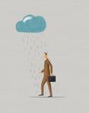 Geschäftsmann, der unter raincloud geht stockbild