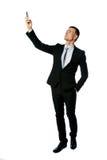 Geschäftsmann, der Verbindung am Telefon sucht Lizenzfreies Stockfoto