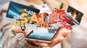 Geschäftsmann, der Verkaufsikonen über seiner Wiedergabe des Telefons 3D hält Lizenzfreie Stockbilder