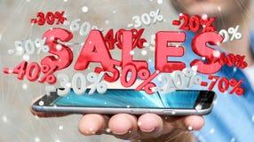 Geschäftsmann, der Verkaufsikonen über seiner Wiedergabe des Telefons 3D hält Lizenzfreies Stockfoto