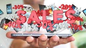 Geschäftsmann, der Verkaufsikonen über seiner Wiedergabe des Telefons 3D hält Stockbilder