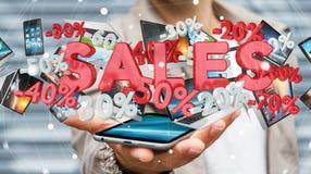 Geschäftsmann, der Verkaufsikonen über seiner Wiedergabe des Telefons 3D hält Stockfotos
