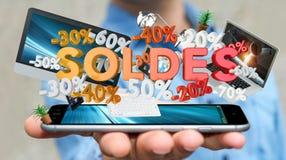 Geschäftsmann, der Verkaufsikonen über seiner Wiedergabe des Telefons 3D hält Stockfoto