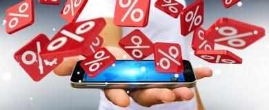 Geschäftsmann, der Verkaufsikonen über Wiedergabe des Telefons 3D hält Stockbilder