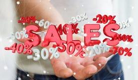 Geschäftsmann, der Verkaufsikonen in seiner Wiedergabe der Hand 3D hält Lizenzfreies Stockfoto