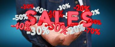 Geschäftsmann, der Verkaufsikonen in seiner Wiedergabe der Hand 3D hält Lizenzfreie Stockfotografie