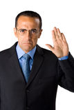 Geschäftsmann, der Versprechen bildet lizenzfreie stockbilder