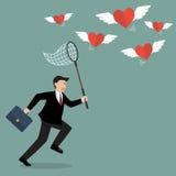 Geschäftsmann, der versucht, das Herzfliegen zu fangen lizenzfreie abbildung