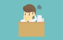 Geschäftsmann, der in verwirrtem arbeitet Karikatur des Geschäftsausfallung ist Lizenzfreie Stockfotografie