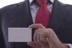 Geschäftsmann, der Visitenkarte zeigt Lizenzfreies Stockbild