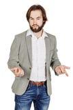 Geschäftsmann, der während der Darstellung spricht und Handzeichen verwendet Stockbild