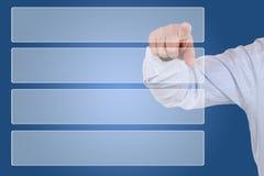 Geschäftsmann, der Wahl für Geschäft, Organisation zeigt stockfoto