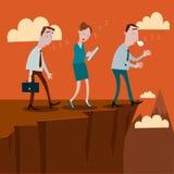 Geschäftsmann, der weg von einer Klippe sleepwalking ist lizenzfreie abbildung