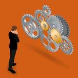 Geschäftsmann, der wie man Geschäft denkt, aufbaut Funktionalitäts-Technologie-Geschäfts-Konzept Flacher isometrischer Vektor 3d Stockbilder