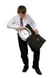 Geschäftsmann, der Zeit steuert Stockfotografie