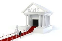 Geschäftsmann des Mannes 3d und Bankgebäude Stockbilder