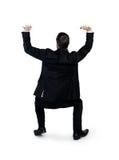 Geschäftsmann drücken etwas hoch Stockfotografie