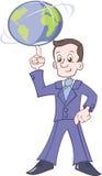 Geschäftsmann dreht die Erde auf einem Finger Stockfoto