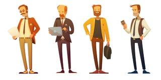 Geschäftsmann-Dress Code Retro-Karikatur-Satz lizenzfreie abbildung