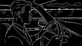 Geschäftsmann-Driving Car Inside-Fahrzeug-Zeichnungs-2D Animation lizenzfreie abbildung