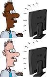 Geschäftsmann an einem Überwachungsgerät Lizenzfreies Stockfoto