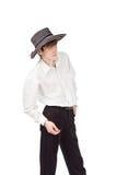 Geschäftsmann in einem Hut auf einem Isolathintergrund Stockfoto