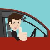 Geschäftsmann in einem roten Auto Stockfotos